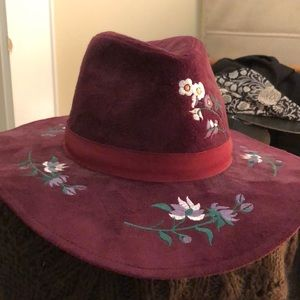 Ultra suede burgundy embroidered hat